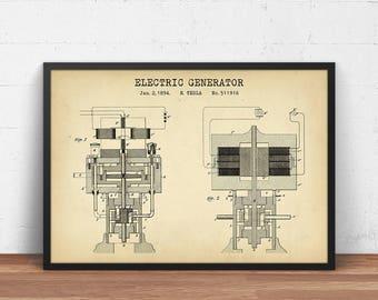 Tesla Patent Print, Electric Generator 1894, Digital Download, Nikola Tesla Poster Printable, Steampunk Wall Art Decor, Science Gifts, Dorm