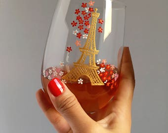 Eiffel Tower and Florals - Hand Painted Wine Glass