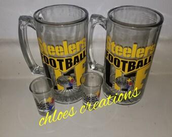 Pittsburgh Steelers beer mug and shot glass set