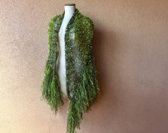 Mother Gift Green Shawl with Fringe Mothers Day Gift Long Shawl Green Fairy Shawl Wrap Irish Celtic Khaki Green Shawl Olive Green Moss Green