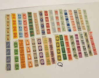 Q 128 colorful savings trading stamps sample pack 32 different kinds in strips of 4  ephemera Vintage paper supplies