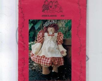 Craft Sewing Pattern Patrice & Company 32 Andy's Annie Rag Doll Raggedy Anne Style Stuffed Doll Folk Art Home Decor UNCUT  99