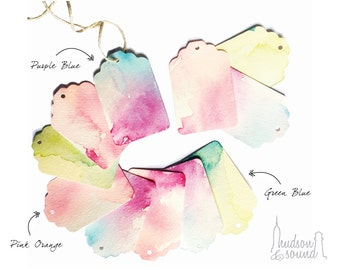 Watercolor Washed Textured Paper Gift Tags with Twine - Unique, Beautiful One of a Kind / Bridal Shower / Baby Shower / Wedding Bag