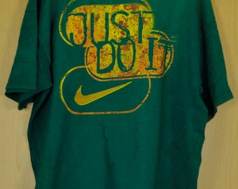 Vintage Nike T Shirt Brand Shirt Green Shirt Sport Shirt Just Do It Sport Brand Football Extra Large Size