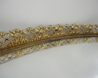 Large Vintage gold metal vanity tray mirror, delicate filigree metal work antique style extra long Dresser mirror display, oval perfume tray