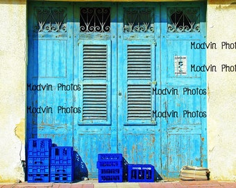 Blue Garage Photograph, Weathered art Photo, Milk Cartons