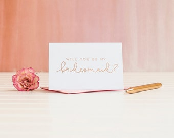 Will You Be My Bridesmaid card in Rose Gold Foil to ask bridesmaid proposal invitation gift box foil stamped wedding bridal party blush pink