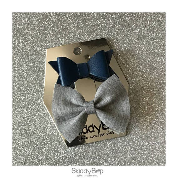 Navy and Grey Bow Set / Faux Leather and Neoprene