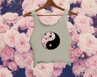 Yin Yang Pink Flowers Crop Top