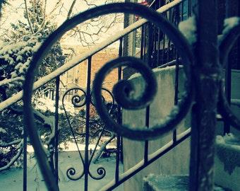 heart photo, spiral ironwork railing, front porch, Chicago Photo, snow, winter, scrollwork, Chicago Photography, Chicago Art, Mid Century