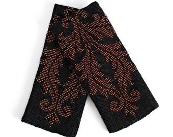 Longer Black Beaded Wrist Warmers with brown beads / Arm Warmers / Hand Warmers