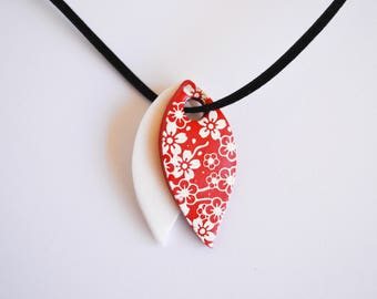 Patterns of red and white cherry blossoms - polymer clay pendant necklace