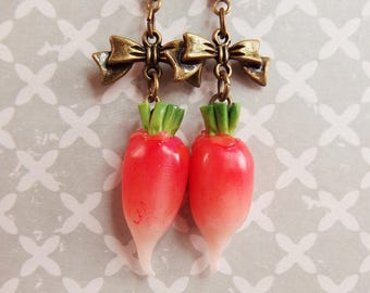 Radish ravanet radish vegetable polymer clay earrings