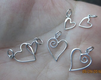 Sterling Silver Swirl Heart Charm,Double Heart Charm or small heart charm