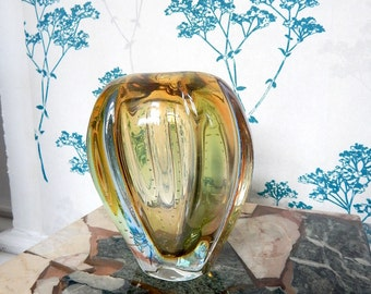 Murano Glass Vase - Collectors Item - Amber and Green coloured