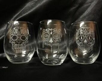 Custom Etched Skull drinking glasses