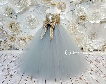 Silver Flower Girl Tutu Dress-Silver Tutu Dress-Silver Dress-Silver Girl Tutu-Silver Wedding Dress-Silver Bride Dress-Silver Baby Dress