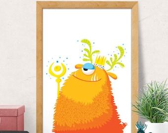 Cute Monster print, Nursery wall art, Nursery decor, Nursery room decor, Nursery wall decor, Baby room decor, Minimal monster, kids monster
