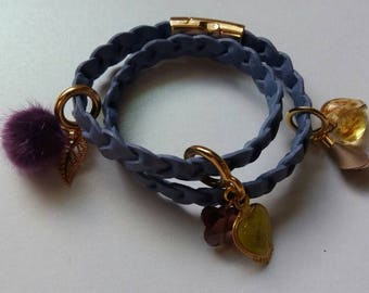 Purple&gold, leather and charmed bracelet.