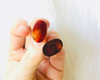 RED Amber Post Earrings. Chiapas, Mexico Amber. Hand Shaped By Mayan Artisan