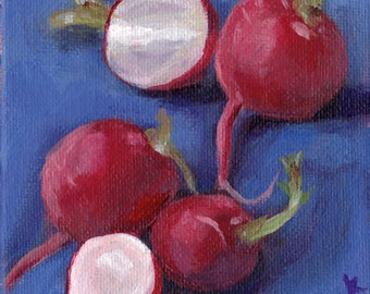 Original Painting // Still Life of Radishes // Acrylic Art // Red, White and Blue 10 cm x 10cm