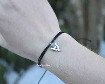 Black Waterproof Adjustable Friendship Bracelet with Arrowhead Charm | Ready to Ship Adventure Jewelry from the Pacific Northwest
