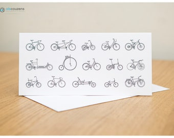 Bicycle Greeting Card, Cycling, Bike Types - Pack of 5