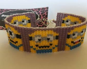Minions beaded bracelet. Handmade. Beaded jewelry. Cuff bracelet.