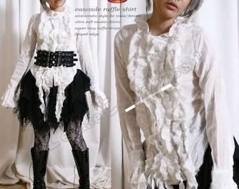 Gothic Victorian Aristocrat EGL Cascade Ruffle Shirt White