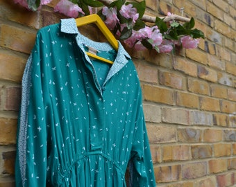 Vintage Turquoise/Teal Long Sleeved Collared Dress