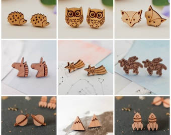 2 Pairs of Wooden Studs for 16, Special Offer, Earring Offer, Stud Earrings, Wooden Earrings, Earring Multi-buy, Stocking Filler Studs