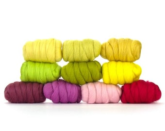 Mixed Spring Colors Merino 10Pack  - 250grams - Wool for Needle Felting - Wet Felting - Weaving - Wool for Nuno Felting - Craft Wool