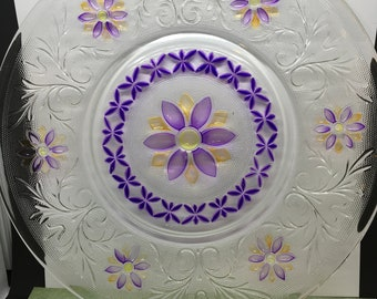 Serving Plate Glass Ultra Violet and Yellow Hand Painted One of a Kind Kitchen Decor Dining Decor Country Decor Home Decor Gift Idea