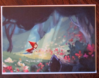 Little Red Riding Hood Picking Flowers   Blank 5x7 Greeting Card   Fairy Tale Storybook Art for Children's or Nursery Room   Flimflammery