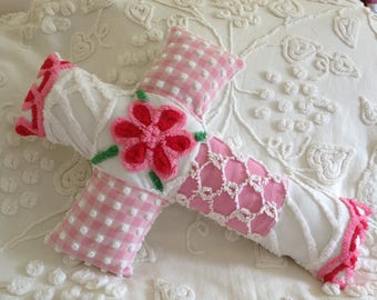 """EASTER SALE...Pillow Vintage Pink and White Bates and Morgan Jones Chenille Cross...16 x 22"""""""