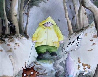 A3 Giclee Print 'The Dog Walker'