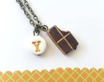 Chocolate Necklace, chocolate , birthday gift for 6 years old girl, Candy, letter, girl initial Necklace, Girl Birthday gift