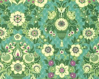 "Amy Butler PWAB137 Violette Garden Fete Grass Green Quilting 18"" BTHY Rowan Westminster Half Yard 18"" Quilt Fabric HY Floral Designer Mod"