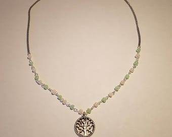 Silver Tree of Life necklace with rosary style chain