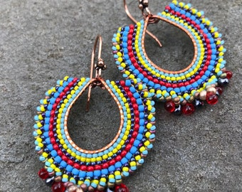 Colorful Seed Bead Earrings, Copper Hoops