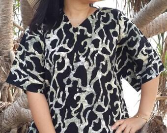 V Neck Sleeve Charcoal Grey Black Bali Batik Top Tunic Kaftan Caftan Dress Blouse Loungewear Summer Beach Pregnant Regular Size 1X 2X 3X