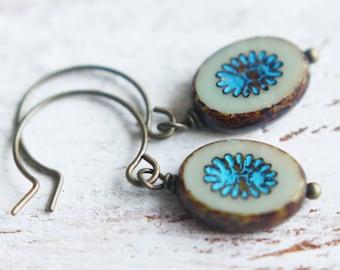 Beaded Earrings - Fossil - Pressed Czech Glass Earrings