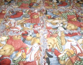 REDUCED PRICING: Vintage Teddy Bears Rag Quilt