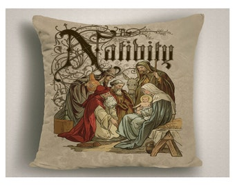 Nativity Scene Christmas Pillow, Spiritual Holiday Throw Pillow, Nativity Decorations, Large Christmas Pillow Covers up to 20 x 20
