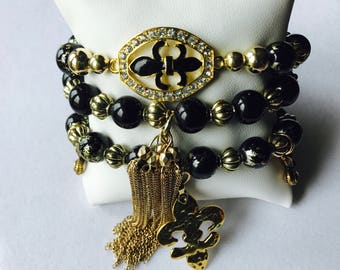 Black abd gold bracelet set, fleur delis bracelet, black and gold fleur de lis, New Orleans saints