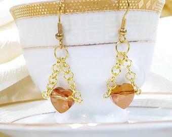 Swarovski Heart and Chain Earrings