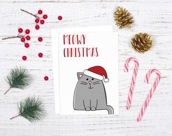 Meowy Christmas Card, Punny Holiday Card, Download Christmas Card, Cat Holiday Card, Christmas Thank You Card, Printable Holiday Card