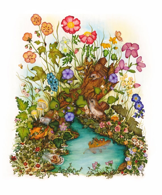 Fairy - Bird Art- Fantasy Print - Childs Room Art