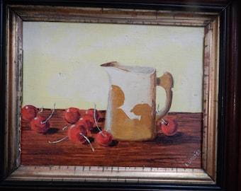 Vintage Still Life 80's Oil Painting in Antique Deep Walnut Frame . signed E Ledley
