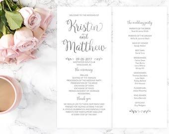 Silver Wedding Program, Silver Wedding Printable Program, White Silver Wedding Program, DIY Wedding Program, Wedding Ceremony Program, SFWF